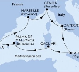 7 Noches por España, Francia, Italia a bordo del MSC Divina