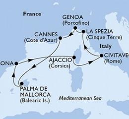 7 Noches por Italia, Francia, España a bordo del MSC Fantasia